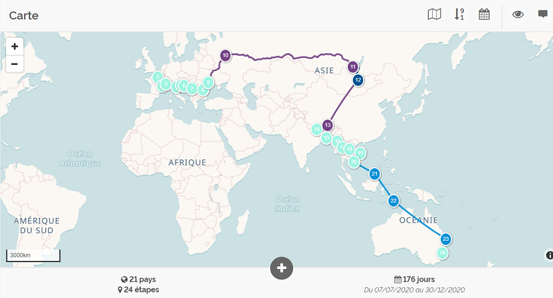 corona virus voyage : carte itinéraire n°1